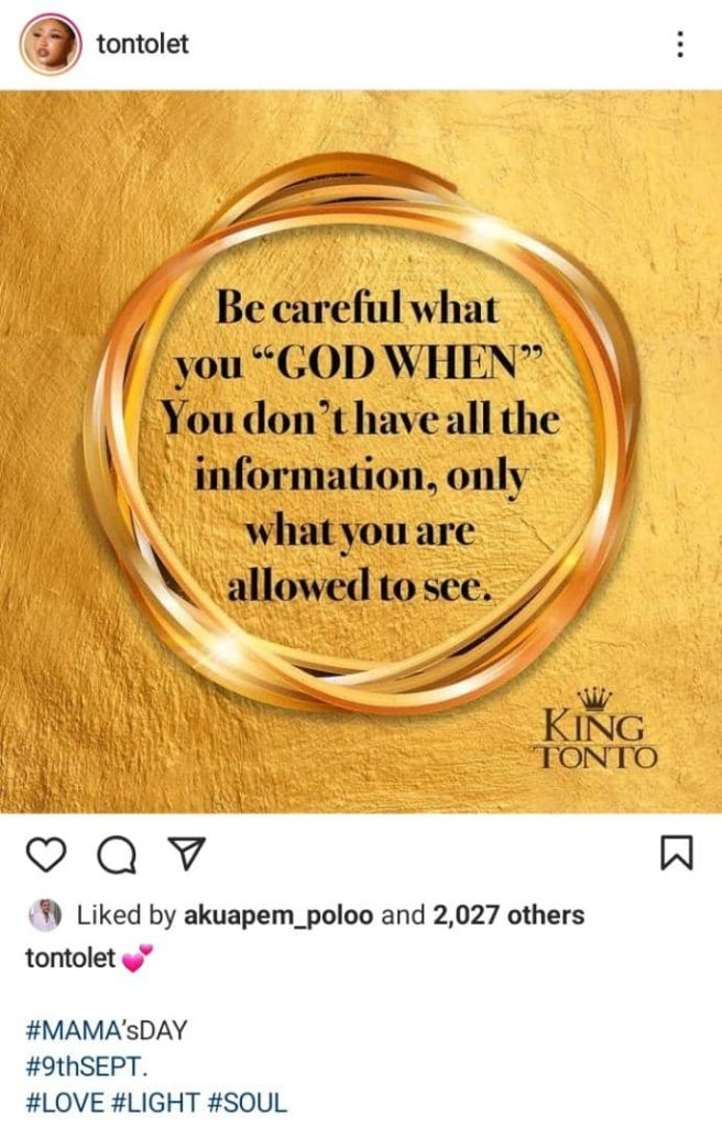 Tonto Dikeh Warns 'God When' Association Who Always Tap In Others Blessing On Social Media