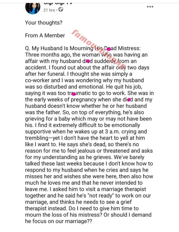 Lady Seek Advice As Her Husband Quits His Job To Mourn His Dead Mistress Who Was Pregnant