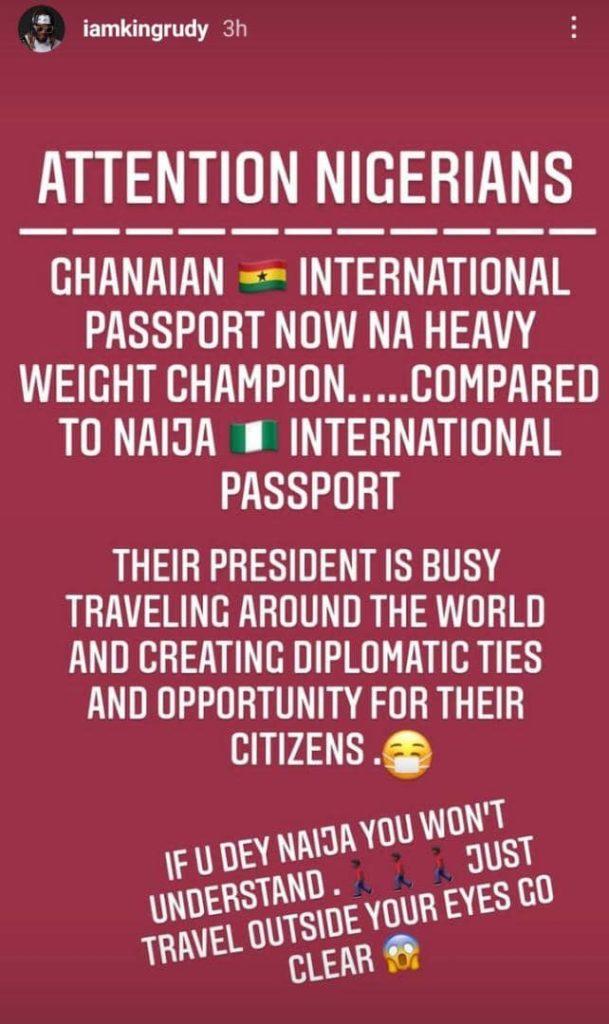 Rudeboy Cries After Realizing How Better Ghanaian International Passport Is Than Nigerian International Passport