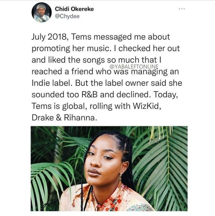How Tems Was Rejected By A Record Label But Today She's Rolling With Wizkid, Rihanna & Drake