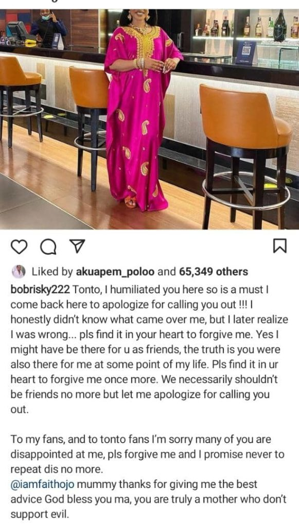 Bobrisky Apologizes To Tonto Dikeh For Calling Her Out