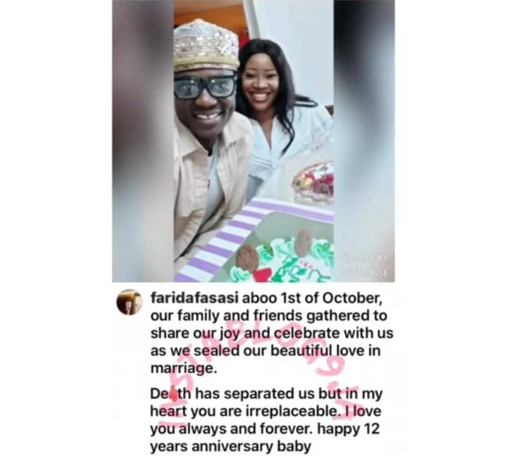 You're Irreplaceable - Late Sound Sultan's Wife Farida Says As She Celebrates Their 12th Wedding Anniversary