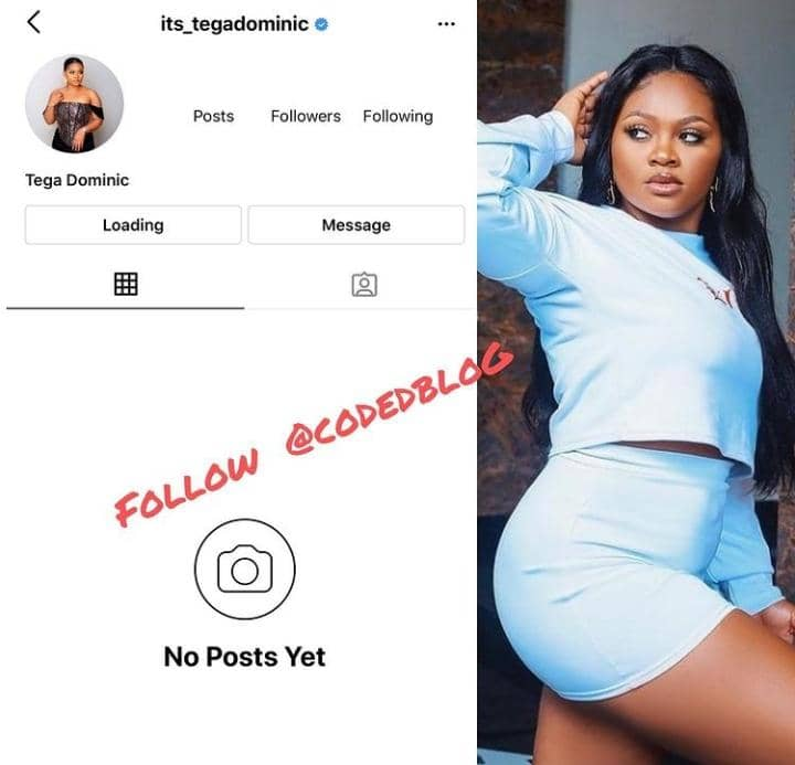 BBNaija Star Tega Deactivate Her Instagram Account After Crying Over Being Mentally Exhausted