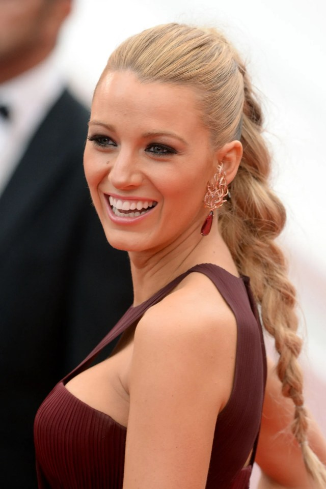 close-ups of blake lively's braid-ponytail hairstyle from