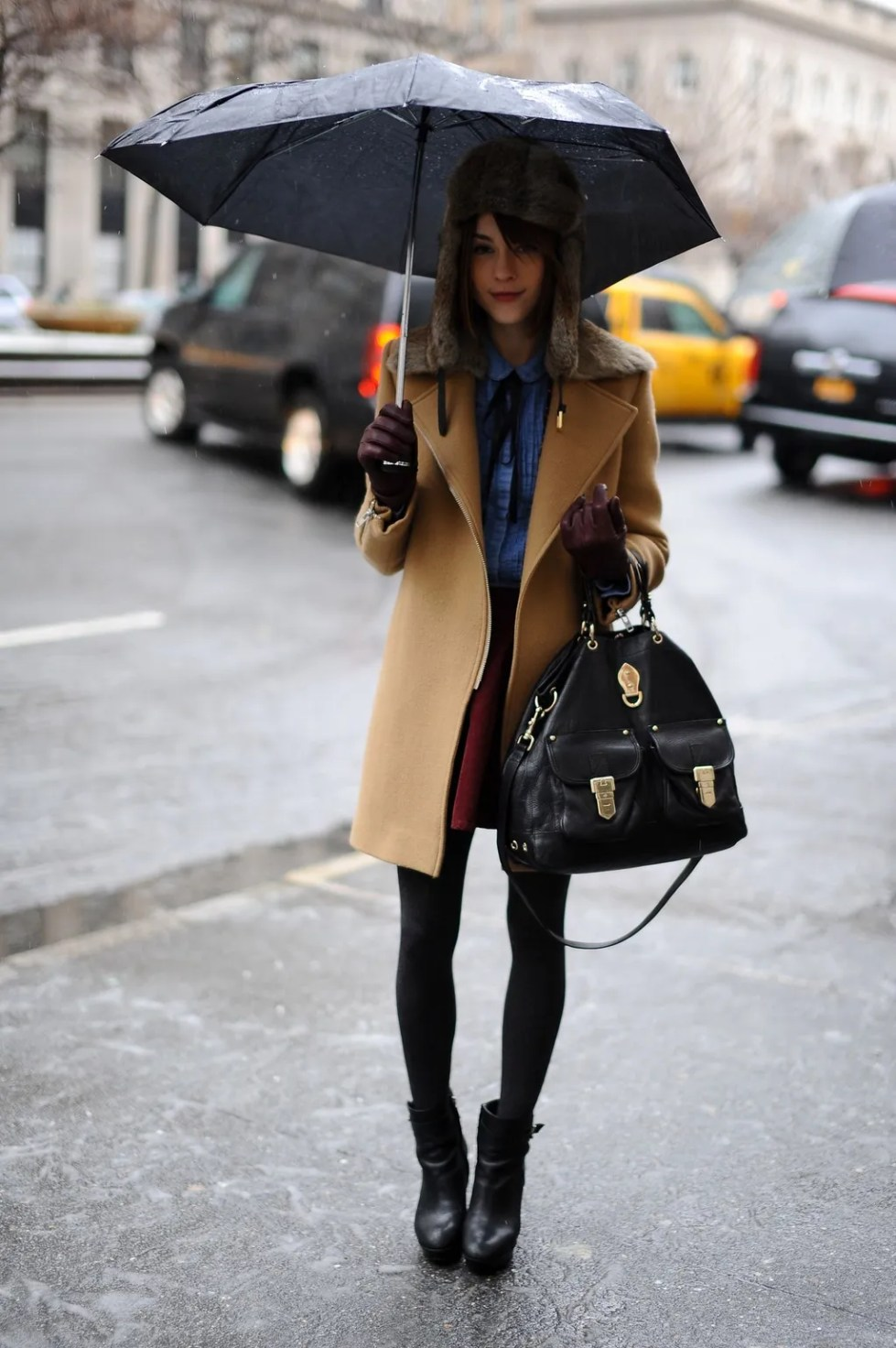 rainy day outfit idea trapper hat