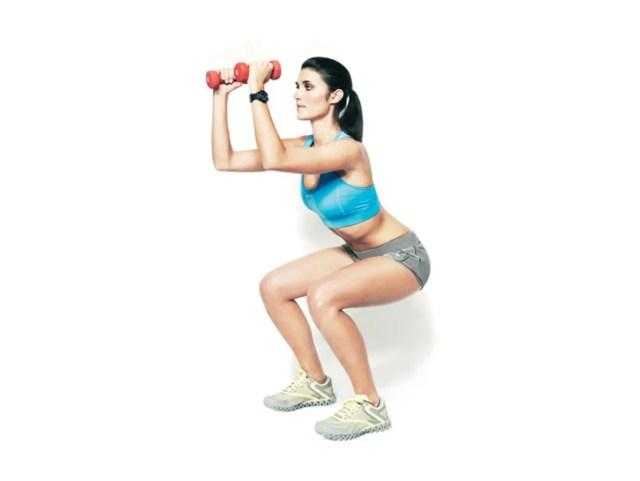 Toning Move 1: Squat and Shoulder Press