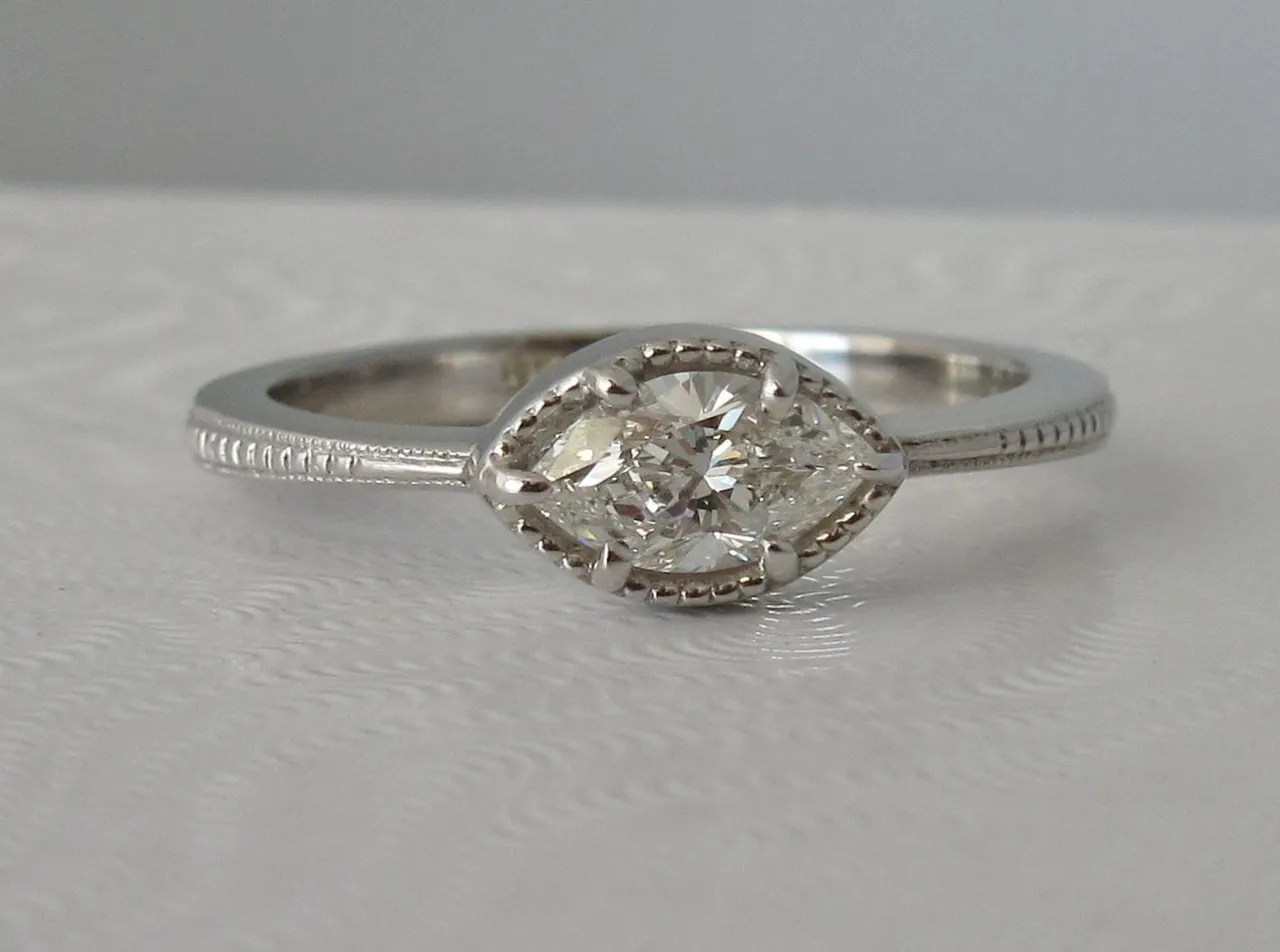 East West Engagement Rings Horizontal Engagement Rings
