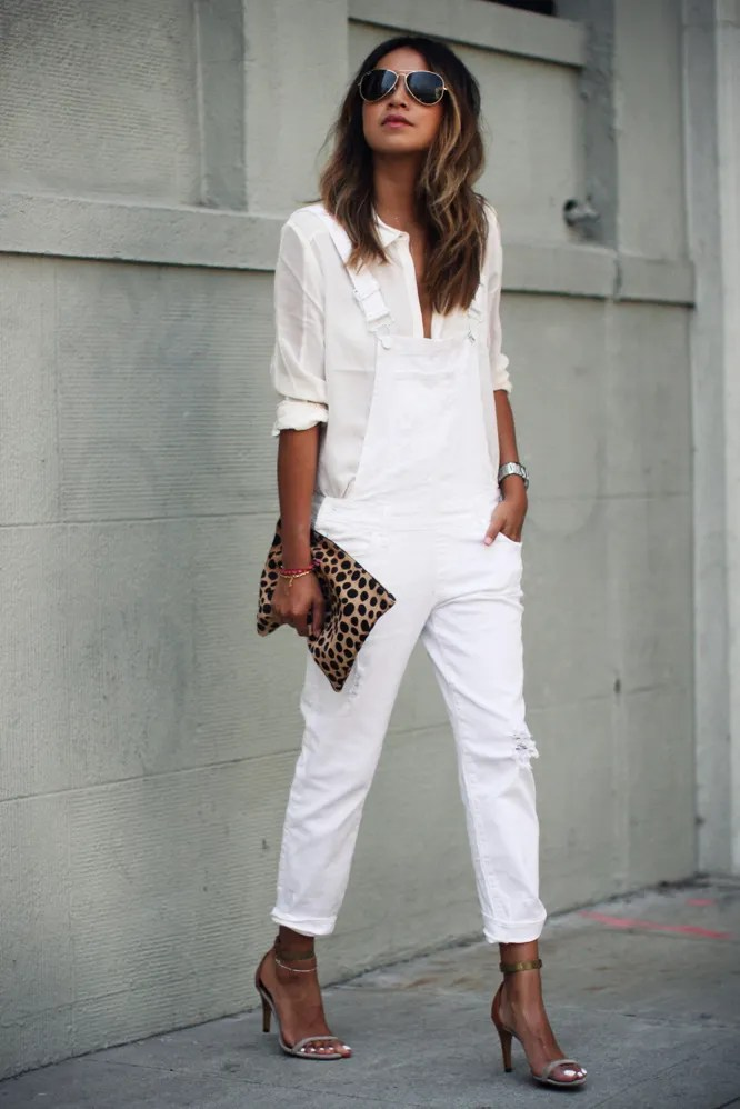 Spring Fashion 2015 White Overalls with White Shirt Underneath and Silver Sandals Leopard Clutch