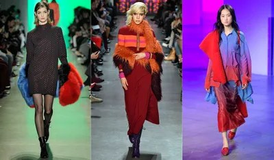 Much like the magenta and colorful tights trends the colorful furry shawls wrapped around the shoulders of models at...