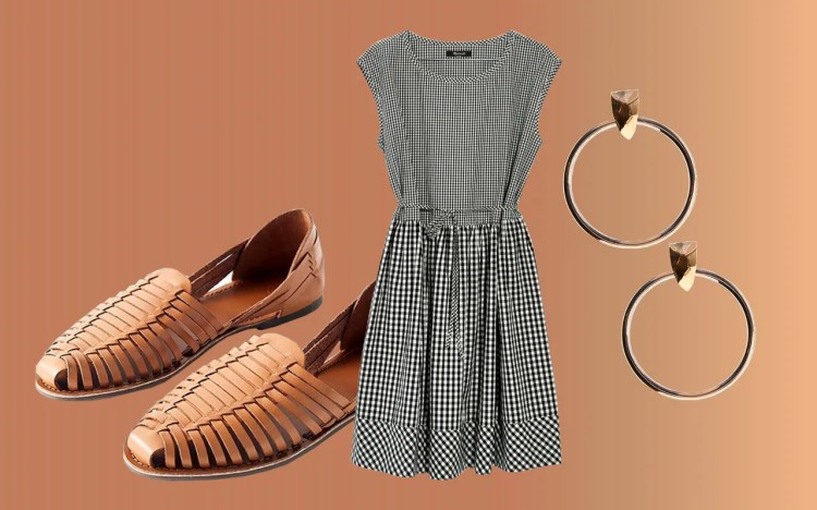"""Few prints feel more """"summer"""" than gingham—so find a short-sleeve dress in the pattern to wear all season long, with woven sandals and hoop earrings, sneakers and studs, and more."""