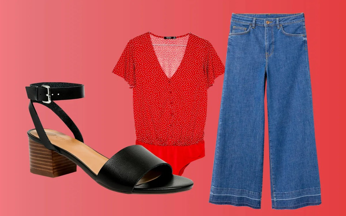 A printed bodysuit adds structure to wide-leg denim. Wear this combo with ankle-wrap heeled sandals.