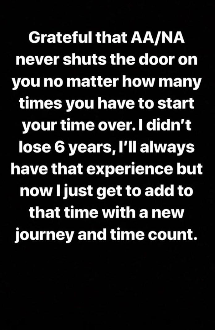 A Demi Lovato Instagram screen shot.