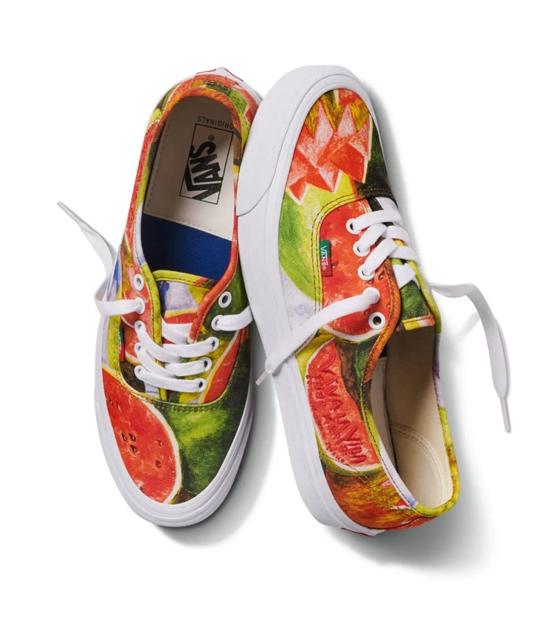 lace up sneakers with watermelon prints