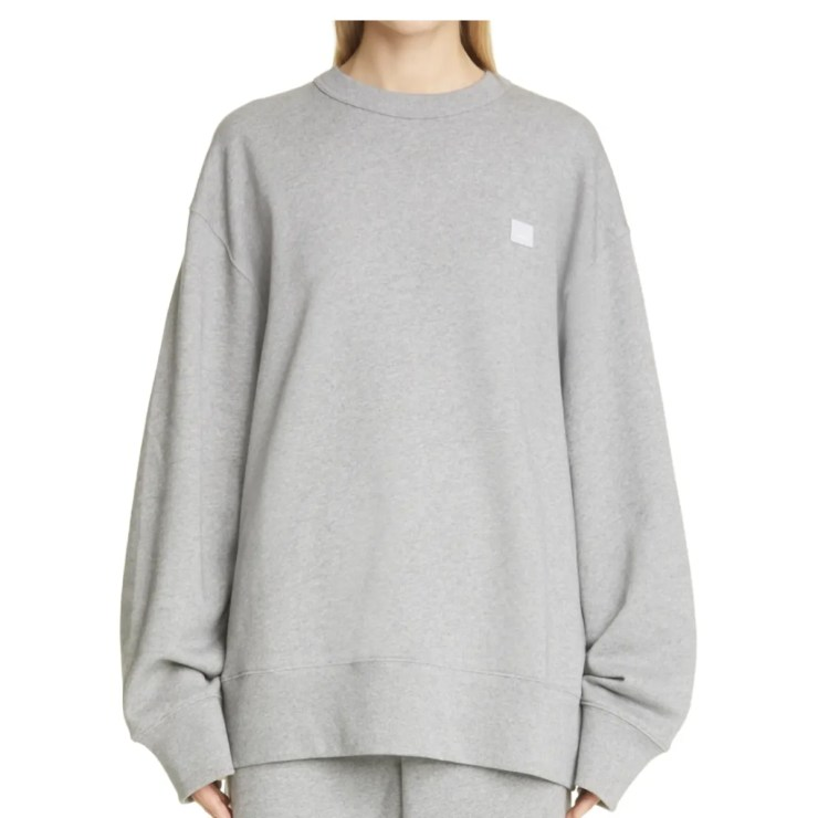Acne Studios Gray Oversized Cotton Organic Sweatshirt