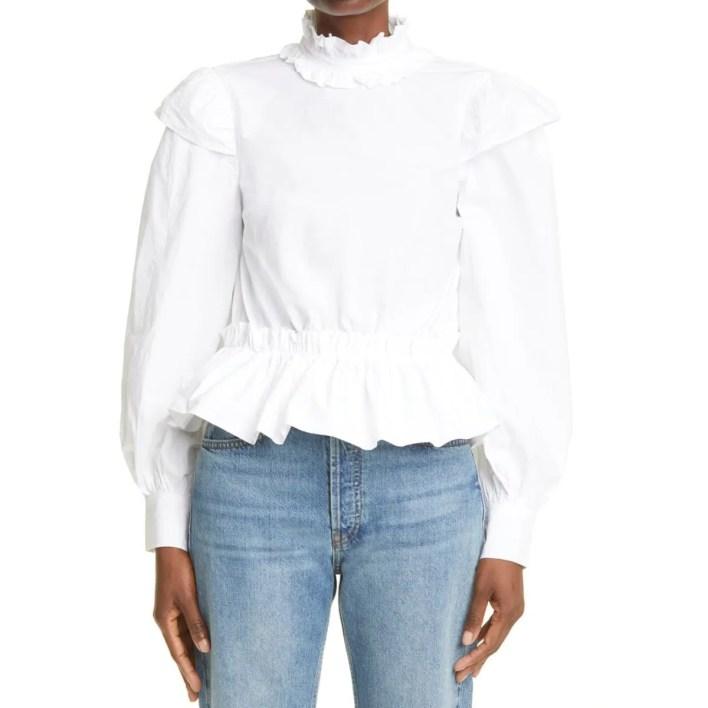 Ganni White Ruffle Long Sleeve Organic Cotton Blouse