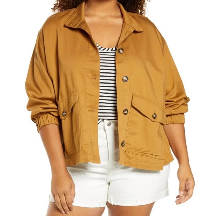 Madewell Tan Cotton-Blend Balloon Sleeve Jacket