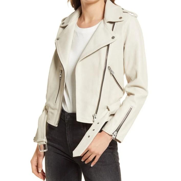 AllSaints Balfern White Leather Biker Jacket