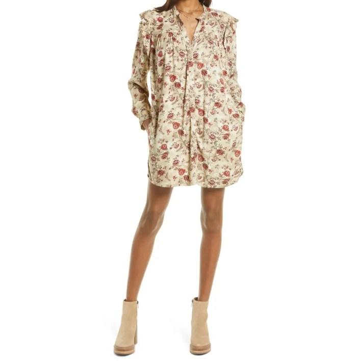 Treasure & Bond Floral Ruffle Long Sleeve Shirtdress