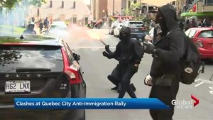 Clashes in Quebec City as counter-protesters rally against anti-immigration rally