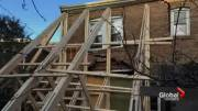 Play video: House still evacuated after crack formed