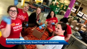 Sorting through Daily Bread Food bank donations