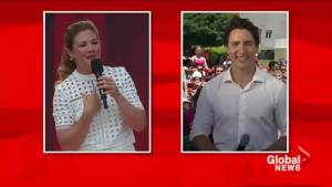 Prime Minister Trudeau and his wife Sophie wish the crowd on Parliament Hill a happy Canada Day