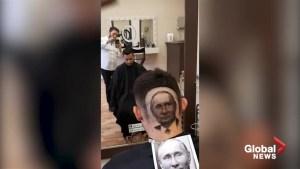 Serbian barber shaves image of Putin into man's hair