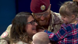 Canadian soldier serving in Iraq surprises family with return home during Leafs puck drop