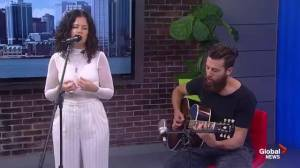 Artist iskwē performs on Global News Morning