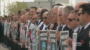 WestJet pilots picket outside company's annual general meeting