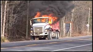 Dump truck fire on Highway 28 near Lakefield