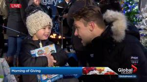 Four-year-old boy donates to Global Calgary's Morning of Giving