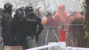 Tight security at migrant camp in Slovenia