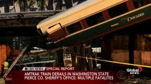 Amtrak train on inaugural trip derails off railway bridge over Interstate in Washington state