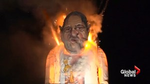 Effigy of Harvey Weinstein burns at annual UK bonfire event