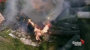 Train transporting hazardous materials catches fire after derailment in Pennsylvania