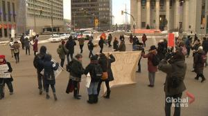Hundreds take over Winnipeg intersection in support of B.C. pipeline protest