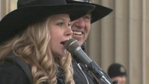 Bill 6 protestors sing at Alberta Legislature