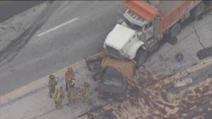 Dump truck, car collision leaves one dead in Vaughan, ON (00:38)