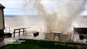 Lake Ontario waves slam into Hamilton deck