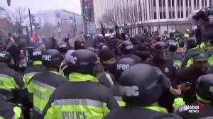 Trump inauguration: explosions heard at Washington protests