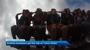 Jennifer Valentyne rides the Yukon Striker at Canada's Wonderland