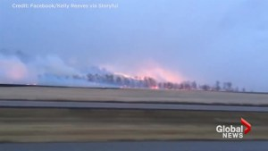 Resident captures wildfire burning outside Gleichen, Alberta
