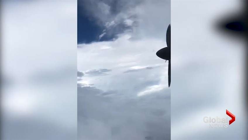 Lapse footage captured hurricane-hunting plane fly through Florence