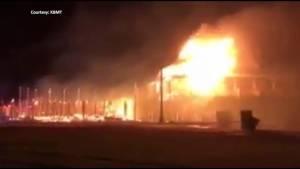 Hurricane Harvey whips up flames on burning building near Texas coast