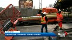 Truck slams into train overpass in Montreal's East End