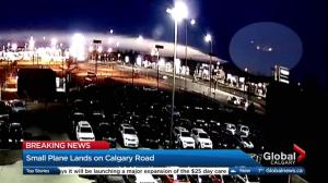 Security video shows small plane landing on Calgary road Wednesday