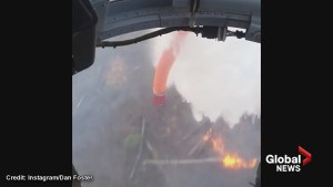 Incredible view of helicopter fighting Fort McMurray wildfire