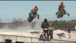 Snowcross racers soar at the Lindsay Exhibition fairgrounds