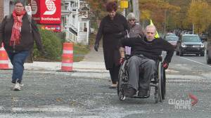 Halifax advocate wheels down Robie Street to highlight accessibility issues (01:41)